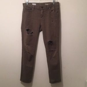 gap distressed army green girlfriend jeans
